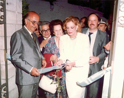 <p>Melina Mercouri, in her capacity as Minister of Culture, inaugurating the Nikos Kazantzakis Museum on 27<sup>th</sup> June 1983</p>