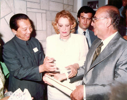 <p>A representative of the Chinese Government with Melina Mercouri and Yiorgos Anemoyiannis at the official opening of the museum on 27<sup>th</sup> June 1983</p>