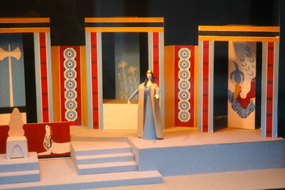 <p>Room 5 in the Exhibition Building: Detail from a model of G. Anemoyiannis&#39; set for the performance of <em>Kouros</em></p>